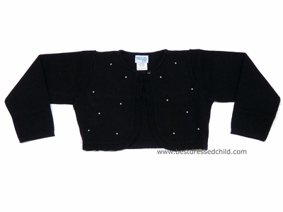 590c07893dc Luli   Me Girls Dressy Black Shrug Bolero Sweaters with Pearls