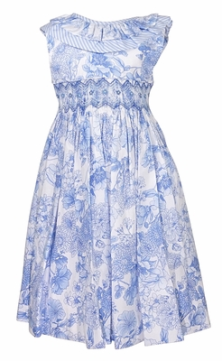 Luli & Me Girls French Blue Floral Smocked Sleeveless Dress