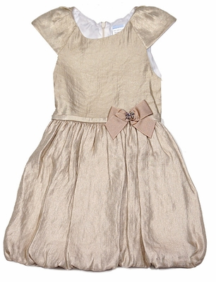 Luli & Me Girls Gold Bubble Holiday Party Dress with Bow