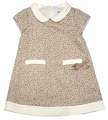 Luli & Me Girls Gold Leopard A-Line Dress with Pockets & Bow