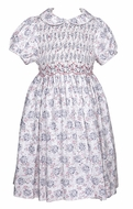 Luli & Me Girls Gray / Pink Floral Dress with Collar - Fully Smocked Bodice