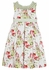 Luli & Me Girls Green/ Red Floral Dress - Sleeveless - Smocked Collar and Striped Sash