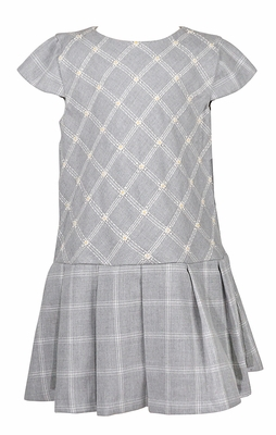 Luli & Me Girls Grey Glen Plaid Dress - Embroidered Daisy Flowers