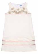 Luli & Me Girls Ivory Linen Blend Shift Dress with Flowers Bodice
