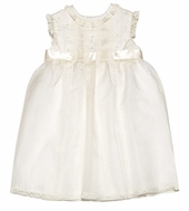 Luli & Me Girls Silk Organza Sleeveless Special Occasion Dress - Ivory