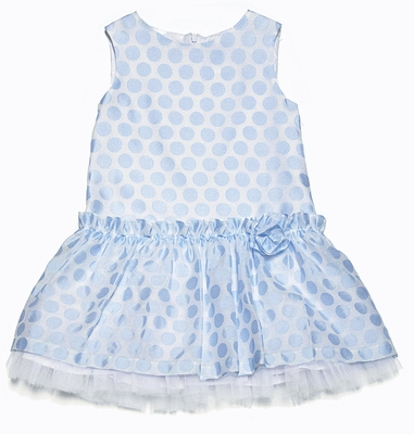 Luli & Me Girls Light Blue on Blue Dots Drop Waist Dress
