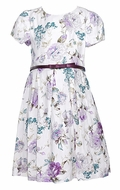 Luli & Me Girls Lilac Purple Rose Floral Dress with Bow Belt