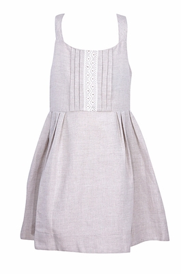 Luli & Me Girls Natural Flax Linen Blend Sun Dress - Lace Trim
