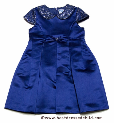 Luli & Me Girls Blue Peau de Soie Party Dress with Sequin Sleeves & Collar