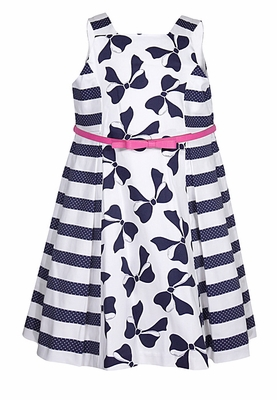 Luli & Me Girls Navy Blue / White Stripes and Bows Sleeveless Dress with Pink Belt