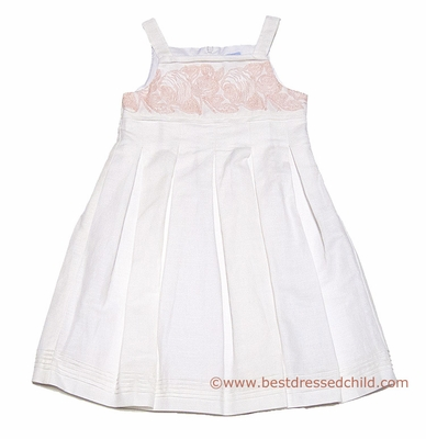Luli & Me Girls Off White Linen / Peachy Pink Embroidery Dress with Full Skirt
