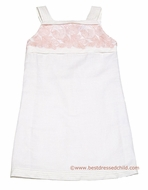Luli & Me Girls Off White Linen / Peachy Pink Embroidery Sheath Dresses