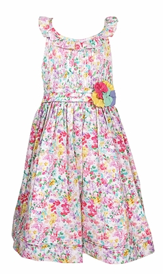 Luli & Me Girls Pink / Lilac Floral Dress - Flower and Ruffle Neckline