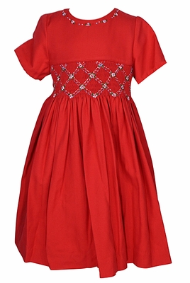 Luli & Me Girls Red Smocked Waist Christmas Dress - Sash and Embroidered Neckline