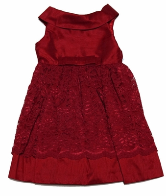 Luli & Me Girls Red Lace Christmas Holiday Party Dress