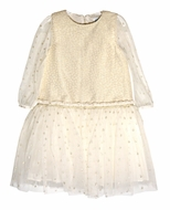 Luli & Me Girls Shimmering Gold Holiday Party Dress - Sheer Sleeves