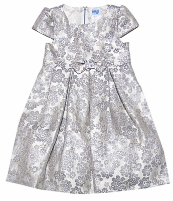 5cd1d4ab4 Luli   Me Silver Jacquard Holiday Dress with Bow