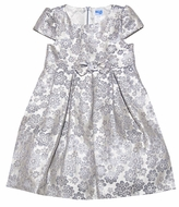 Luli & Me Girls Silver Jacquard Holiday Dress with Bow at Waist