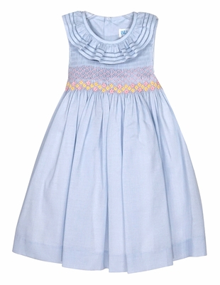Luli & Me Baby / Toddler Girls Sleeveless Blue Smocked Dress with Yellow / Pink Flowers - Ruffle Neckline & Sash