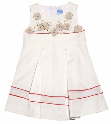 Luli & Me Girls Sleeveless Ivory Linen Blend Dress with Flax Flowers