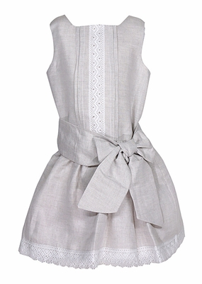 Luli & Me Girls Sleeveless Natural Flax Linen Blend Drop Waist Dress - Lace Trim - Bow can be Tied in Front or Back!