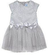 Luli & Me Girls Sparkly Silver Drop Waist Party Dress with Bows