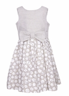 Luli & Me Girls Tan / White Dots Sleeveless Flax Linen Blend Dress with Bow