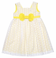 Luli & Me Girls White Eyelet Lace Sleeveless Dress with Yellow Underlay and Bow