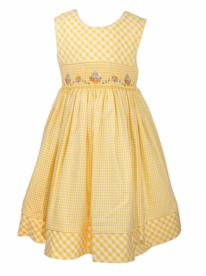 Luli & Me Girls Yellow Gingham Sleeveless Dress - Smocked Flower Baskets