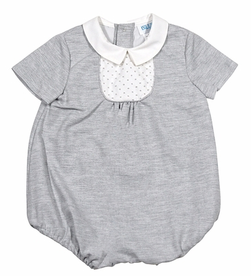 Luli & Me Infant Boys Gray Bubble with Embroidered Bib Bodice