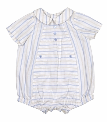 Luli & Me Infant Boys Tan / Blue Striped Bubble