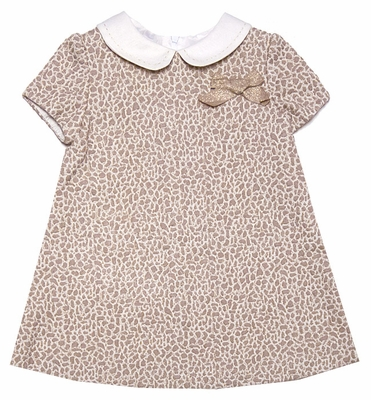Luli & Me Infant Girls Gold Leopard A-Line Dress with Bow