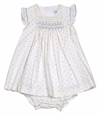 Luli & Me Infant Girls White / Blue Dotted Swiss Smocked Dress with Bloomers
