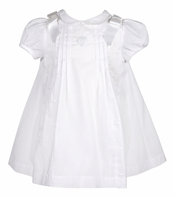 Luli & Me Infant Girls White Organdy Embroidered Dress with Bows
