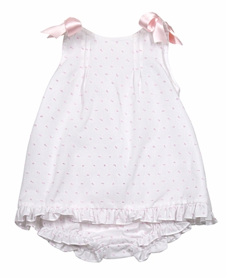 Luli & Me Infant Girls White / Pink Dotted Swiss Dress with Bows and Bloomers