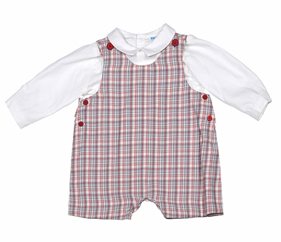 eae5b6ad9ba16 Luli   Me Infant   Toddler Boys Red   Gray Plaid Shortall with Shirt