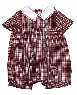 Luli & Me Infant / Toddler Boys Embroidery Collar Red Christmas Plaid Bubble Romper
