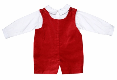 Luli & Me Infant / Toddler Boys Velveteen Shortall with Shirt - Red