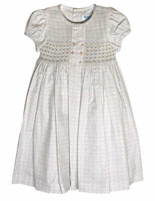 Luli & Me Infant / Toddler Girls Blue / Tan Plaid Smocked Bodice Dress - Double Breasted