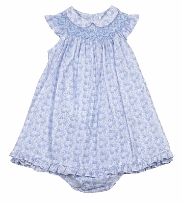 Luli & Me Infant / Toddler Girls Easter Bunny Print Smocked Dress with Collar - Blue