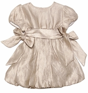 Luli & Me Infant / Toddler Girls Gold Dress with Side Bows and Bloomers