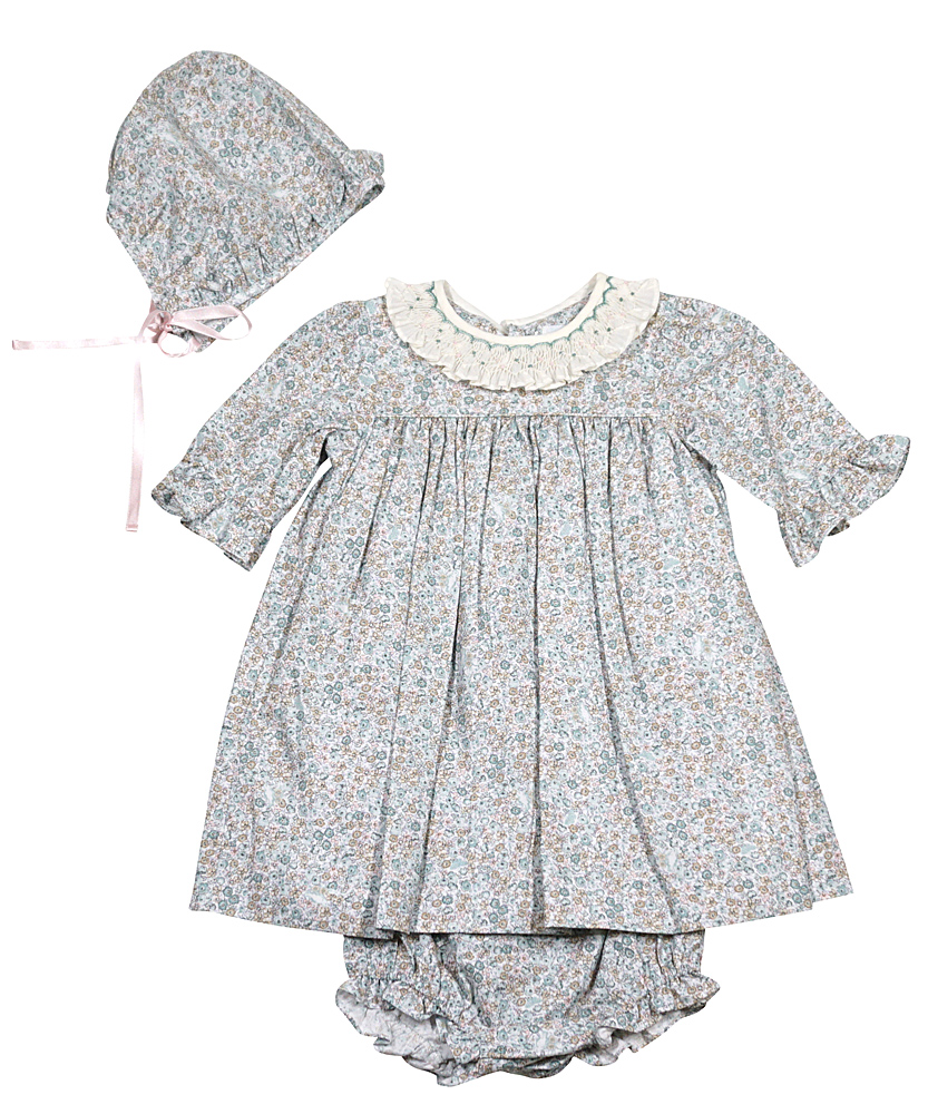 Luli & Me Infant / Toddler Girls Green Liberty Floral Dress with ...