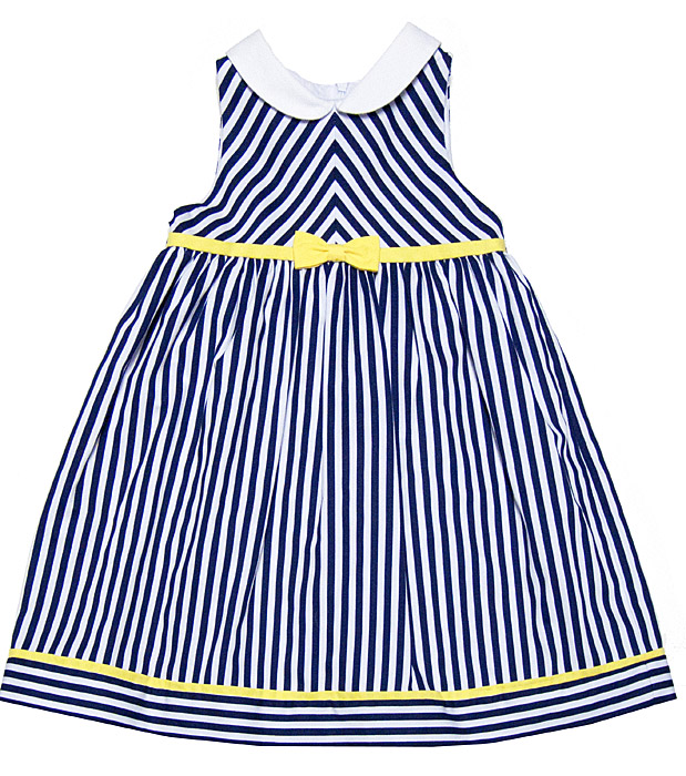 Blue and yellow striped dress