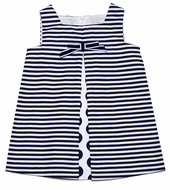 Luli & Me Infant / Toddler Girls Navy Blue Stripes & Dots Dress with Bow