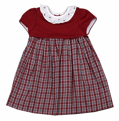Luli & Me Infant / Toddler Girls Red Christmas Plaid Dress with Embroidered Ruffle Collar