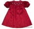 Luli & Me Infant / Toddler Girls Red Silk Smocked Christmas Bishop Dress