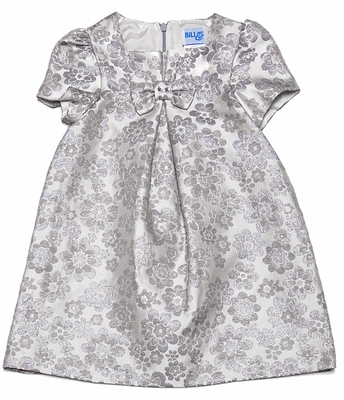 Luli & Me Infant / Toddler Girls Silver Jacquard Holiday Dress with Bow on Bodice