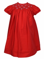 Luli & Me Infant / Toddler Girls Smocked Red Christmas Dress - Bishop