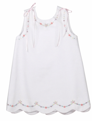 Luli & Me Infant / Toddler Girls White Pique Scallop Dress - Embroidery & Pink Ribbons