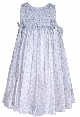 Luli & Me Infant / Toddler Girls Blue Tiny Floral Print Smocked Dress with Side Tie Bows